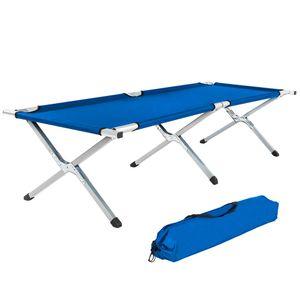 tectake Feldbett aus Aluminium - blau