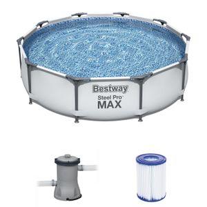 Bestway 56408 Rund Aufstellpool Stahl Pro Max 305x76 cmGestalten: Round, Maße: 3 - 3,99 m, Filterpumpe: 58381