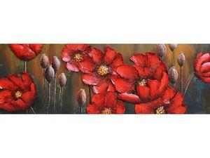 3D-Metallbild - Motiv: Rote Blumen