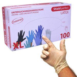 Shield Perfect Latex Untersuchungshandschuhe, puderfrei - Weiss Größe XL - Box mit 100 Stück