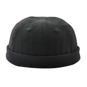 Fashion Skullcap Sailor Cap Rolled Cuff Krempenlose Mütze 60cm Schwarz Einstellbar Schädelkappe Solide
