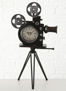 Boltze Tischuhr Filmkamera 52cm Uhr Standuhr Eisen schwarz