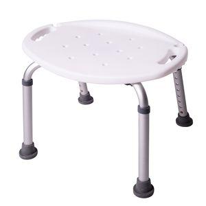 ONVAYA® Duschhocker oval weiß aus Kunststoff | 150kg | Badhocker höhenverstellbar | Duschsitz | Duschstuhl | Duschhilfe