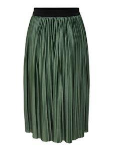 JDY Damen Plissee Rock Jersey Midi Skirt Langer Faltenrock Strech Bund, Farben:Grün, Größe:36
