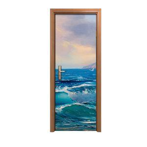Türposter 70x200 cm Türaufkleber Türtapete Türfolie Klebefolie Seelandschaft Malerei Meereswelle