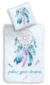 Traumfänger Mako-Satin Bettwäsche Set 80x80 + 135x200 · Bohemian Style, Dreamcatcher, Federn & Blumen · Bettwäsche für Mädchen / Frauen · 100% Baumwolle
