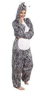 B88052-180 Damen Herren Zebra Overall-Kostüm bis max.180 cm Körpergröße