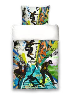 """beties """"Graffiti Skateboard"""" Jugend Wende Bettwäsche ca. 155x220 cm"""