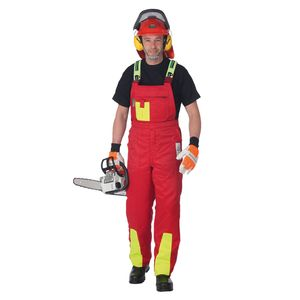 Schnittschutzhose Klasse 1, Forsthose WOODSafe®, kwf-, Latzhose rot/gelb, Herren - Waldarbeiterhose mit Schnittschutz Form A, leichtes Gewicht - Größe 54