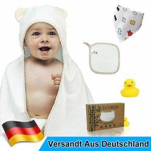 Ecoboo Baby Kapuzenhandtuch Kapuzentuch 90x70 cm inkl. Waschlappen und Lätzchen