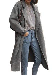 Damen Wollmantel Trenchcoat Damen warmen langen Mantel,Farbe: grau,Größe:L