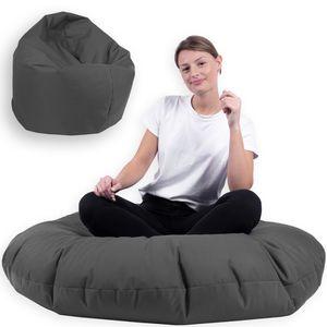 Sitzsack 2 in 1 mit Füllung Indoor Outdoor Sitzkissen 3 Größen Yoga Kissen BeanBag (100cm Durchmesser, Anthrazit)