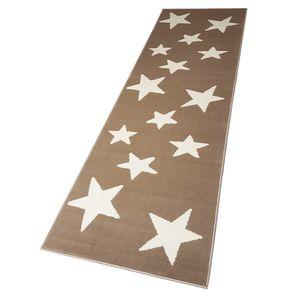 Moderner Läufer Teppich Brücke Teppichläufer Sterne Stars verschiedene Farben ca. 80x250 cm, Größe:80x250 cm, Farbe:beige/creme