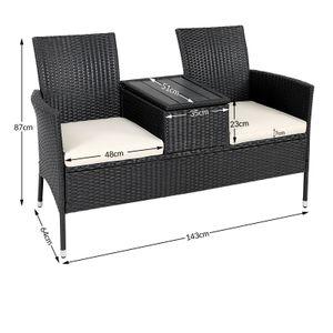 Gartenbank Poly Rattan WPC Tischplatte wasserabweisend Kinobank Garten 2 Sitzer