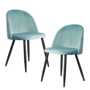 WOHNLING Esszimmerstuhl 2er Set Hellgrün Samt Gepolstert | Küchenstuhl mit Schwarzen Beinen | Schalenstuhl Skandinavisches Design | Polsterstuhl mit Samtbezug