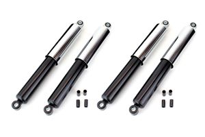 Set: 4 schwarze Stoßdämpfer mit Chrom Hülse, kurz für Vorne und Hinten Länge 310mm für Simson