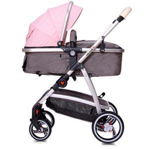 Lalalux Babyboomer Kombikinderwagen Komplettset - Dunkelgrau/Rosa, klappbar, sportlich, universell, doppelte Federung, inkl. Tasche, Regenschutz
