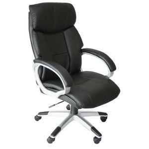 Chefsessel Bürodrehstuhl 140Kg mit doppelter Polsterung und Rollen, aus Kunstleder, schwarz