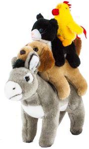Teddys Rothenburg Kuscheltier Bremer Stadtmusikanten Figuren Esel Hund Katze Hahn mit Klettverschluss 30 cm (mit Schwanz) Plüschtiere