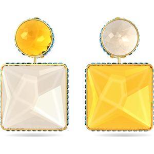 Swarovski Ohrringe 5600522 Orbita, Asymmetrisch, Kristall im Quadrat-Schliff, Mehrfarbig, Goldlegierung