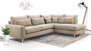 Mirjan24 Ecksofa Cornelia, Sofagarnitur, Eckcouch, L-Form Sofa, Stilvoll Wohnzimmer Sofa (Farbe: Zaira 01, Seite: Rechts)