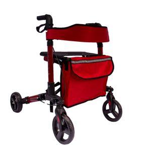 AREBOS Alu Rollator klappbar Leichtgewichtsrollator Laufhilfe Gehhilfe Gehwagen mit Einkaufstasche Rot
