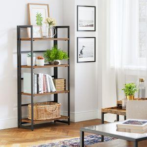 VASAGLE Bücherregal mit 4 Ablagen und Metallrahmen 125,5 x 60 x 30 cm Standregal Klappregal multifunktional einfache Montage Vintage LLS88X