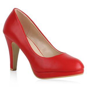 Mytrendshoe Damen Plateau Pumps Schuhe Stiletto High Heels Basic 820563, Farbe: Rot, Größe: 38