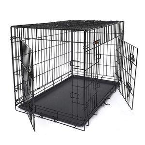 FEANDREA Hundebox | XXL 106 x 77,5 x 70 cm | Hundekäfig faltbar 2 Türen | Drahtkäfig | Gitterbox | Transportbox für Katzen/ Hasen/ Nager/ Kaninchen/ Geflügel schwarz PPD42H