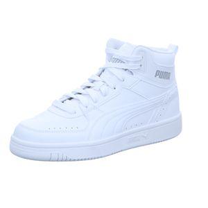 Puma Rebound Joy Mid Schuhe Sneaker Mid Cut Basketballsneaker, Größe:UK 9 - EUR 43 - 28 cm, Farbe:Weiß (Puma White)