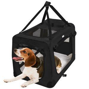 MC Star Leichte Transportbox für Haustiere mit Fleece-Matte Tragbar Faltbar Hundekäfig - Schwarz, XL