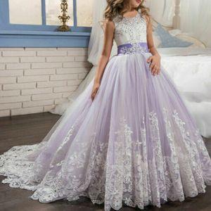 Kinder Blumenmädchen Tüll Partykleid Prinzessin Tutu Spitze Hochzeit Abendkleid Lila 130