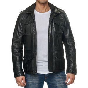 Reslad Lederjacke Herren Echtleder Trenchcoat Jacken für Männer   bequeme Übergangsjacke aus Nappa Leder RS-9033 Schwarz L