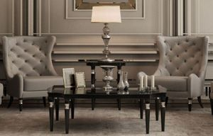 Casa Padrino Luxus Art Deco Couchtisch Schwarz / Silber 130 x 130 x H. 45 cm - Art Deco Wohnzimmertisch - Art Deco Wohnzimmer Möbel - Luxus Qualität