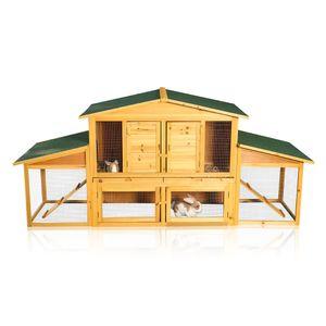 XXL Hasenstall Kaninchenstall Kleintierstall Hasenkäfig Freigehege Freilauf Holz Gehege Kaninchenkäfig Kleintierhaus Nagerkäfig Innen Außen