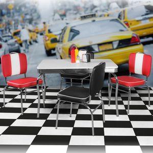 WOHNLING Esstisch 120 cm American Diner MDF Holz & Alu Esszimmertisch Design Küchentisch Retro USA Bistrotisch