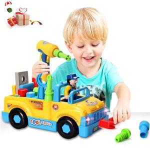 Baby Spielzeug multifunktionale Konstruktion auseinander nehmen Spielzeug,Werkzeug Lastwagen für Kinder Spielzeug 3+mit Bohrmaschine und Elektrowerkzeuge für Montage,Musik /Beleuchtung