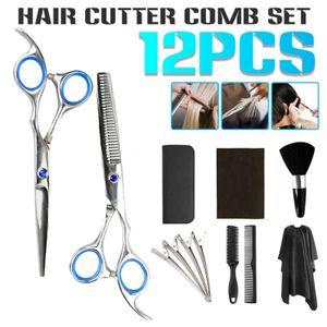 Blau Haarschere Effilierschere für Hause Schnitt Friseurscheren Set