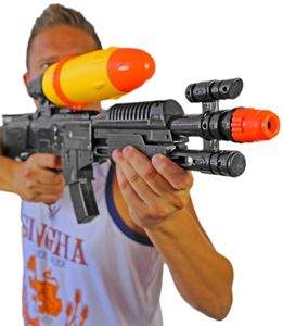 XXL Wasser-Pistole Kinder-Spielzeug Schwarz Gelb Wasser-Spritze Sommer-Spielzeug Spielzeug-Pistole Wasser-Gewehr Aqua-Gun Pool-Kanone Planschbecken-Pistole Garten-Party Spielzeug-Waffe Swimming-Pool-Gun