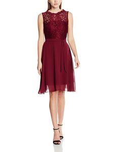 Intimuse Damen, ärmelloses Cocktail Kleid mit Spitzendetails, Color:bordeaux, Size:042