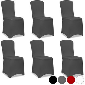 6 x Stuhlhussen Stretch Stuhlbezug Stuhlüberzug Stuhl Bezug Hochzeit Hussen Set, Farbe:anthrazit