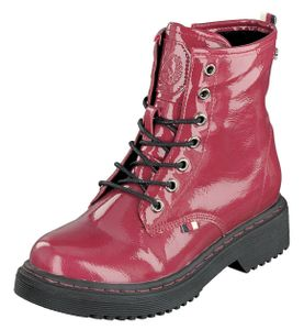 Indigo Shoes Kinder Mädchen Schuhe Lack Bootys Schnürer 452-100 Red Reißverschl.