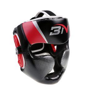 Leder Kopfschutz Box Helm Helm Muay Thai Kampf Taekwondo Kopfschutz Farbe Rot