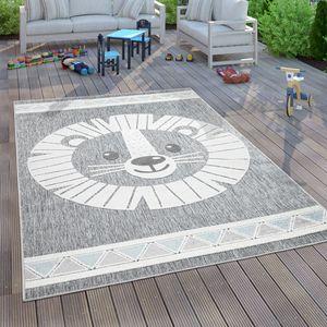 Kinderteppich Kinderzimmer Outdoorteppich Spielteppich 3D Effekt Löwe Grau, Grösse:140x200 cm