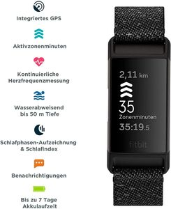 Fitbit Charge 4 Special Edition Gesundheits-und Fitness-Tracker, Granit
