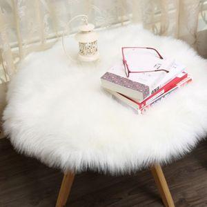 künstlicher Schaffellteppich flauschiger Hausflaschenteppich Sitzkissen weiß 40x40x6cm Runde Form