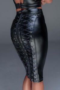 Schwarzer Highwaist-Rock aus Powerwetlook F152 von Noir Handmade, Farbe: Schwarz, Größe: 3XL