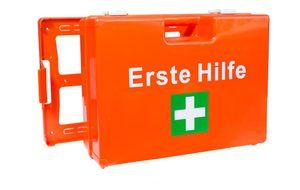 Erste-Hilfe-Koffer für Betriebe DIN 13157 PREMIUM LÜLLMANN Verbandkasten + Wandhalter orange 620139
