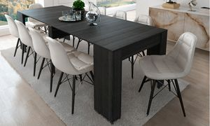 Esstischkonsole ausziehbar bis 237 cm, dunkelgrau, geschlossene Abmessungen: 90x50x78 cm hoch.