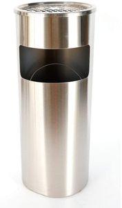 30 L draußen Mülleimer mit Aschenbecher,Edelstahl Standaschenbecher,mit Inneneimer&Aschenbecher,zum Outdoor, Bürogebäude (Silber)